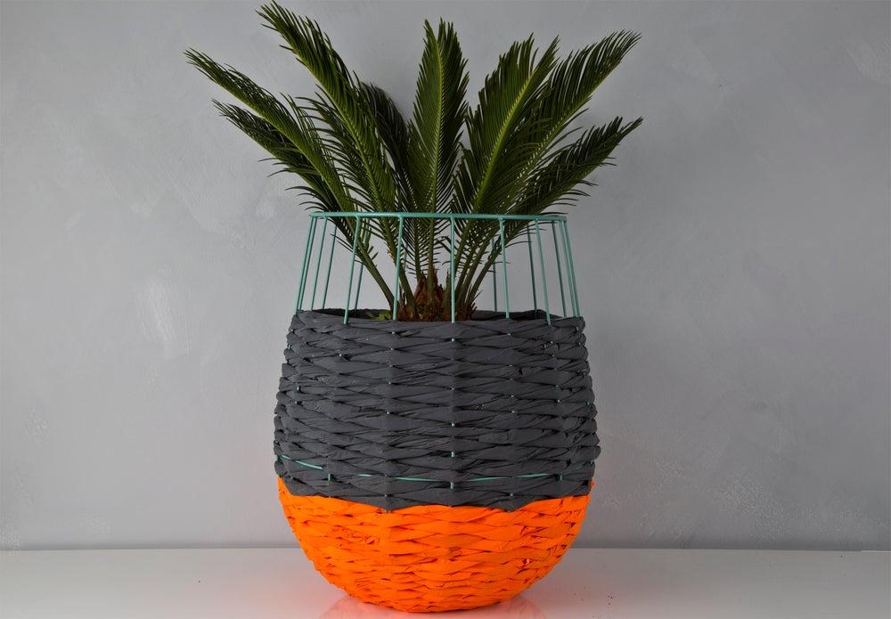 Image of Woven Paper Basket ORANGE