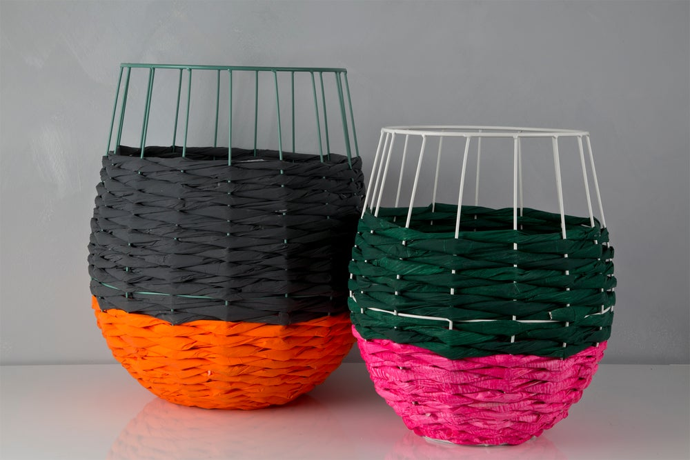 Image of Woven Paper Basket PINK