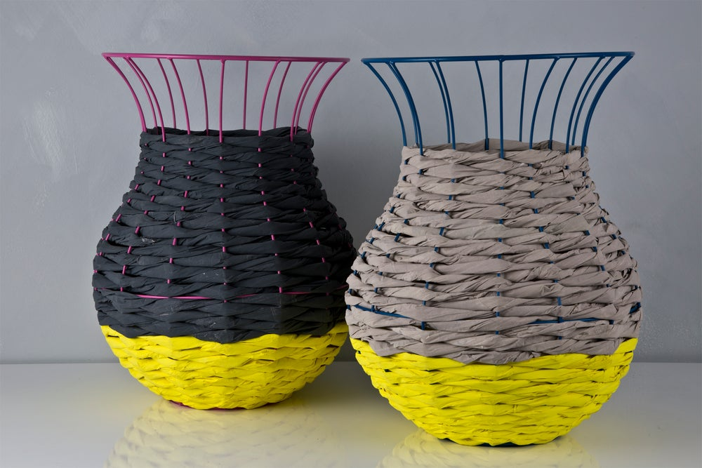 Image of Woven Paper Basket LIGHT GREY