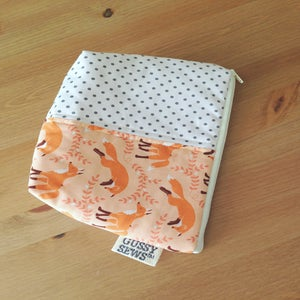 Image of Fancy Foxes large zip pouch // fancy dot