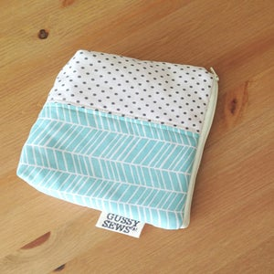 Image of Blue Lines large zip pouch // fancy dot