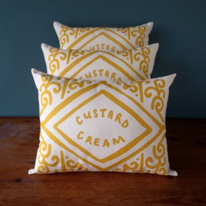 Image of Custard Cream Printed Cushion