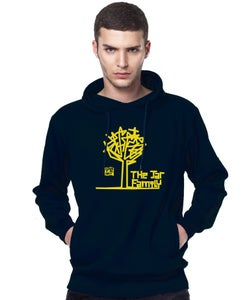 Image of Unisex The Jar Family Navy Blue Hoodie With Yellow Print & Industrial Folk Logo