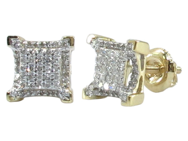 Image of 10KT gold Micro Pave Square Diamond Earrings