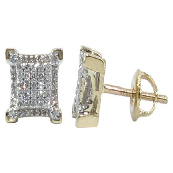 10KT gold Micro Pave Square Diamond Earrings DZ Designs NYC