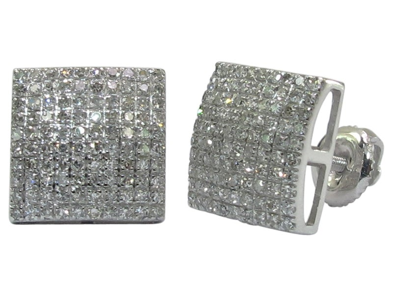 Image of 14kt Micro Pave Square Earrings