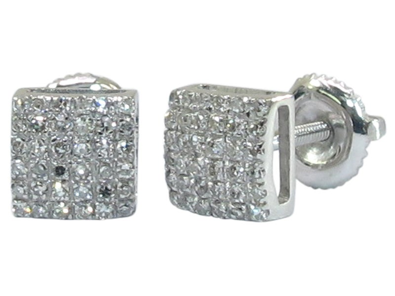 14kt Mini Micro Pave Square Earrings DZ Designs NYC