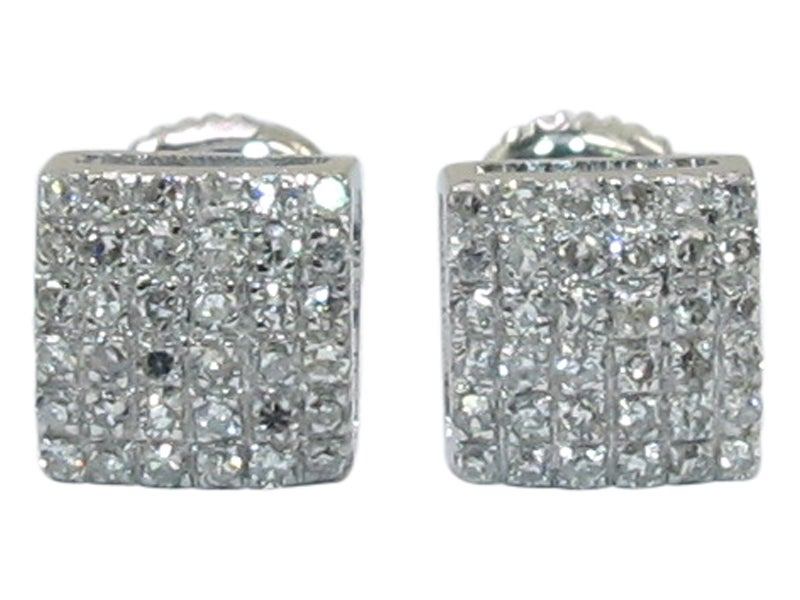 Image of 14kt Mini Micro Pave Square Earrings