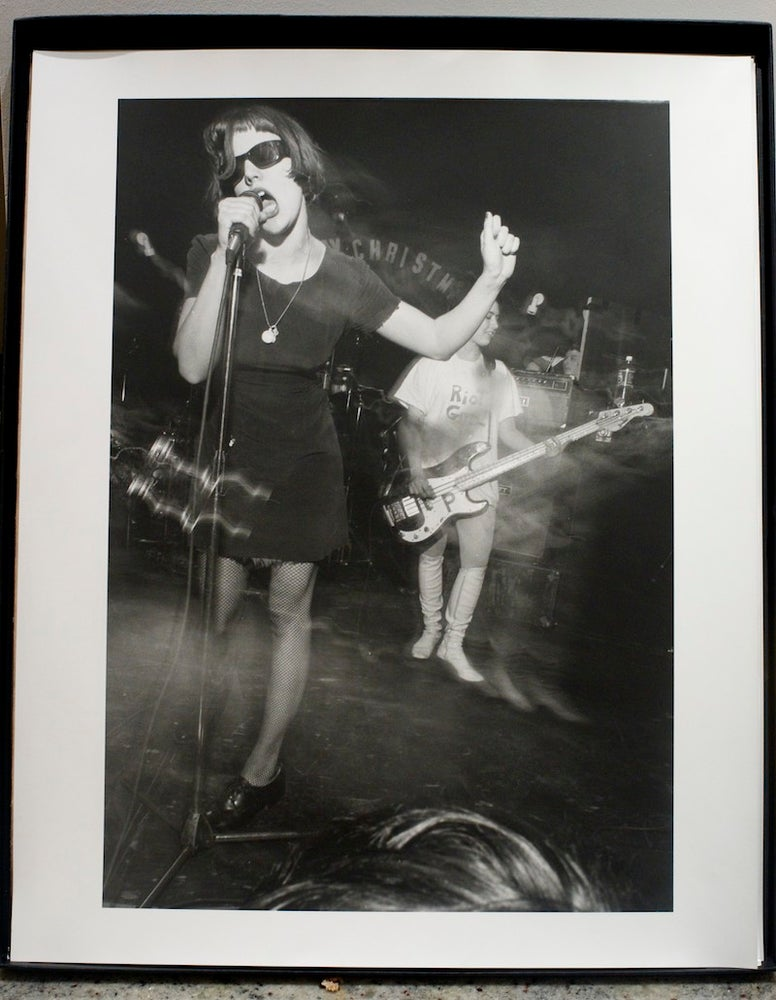Image of Bikini Kill live in Washington DC, Rock For Choice, April 4th 1992.