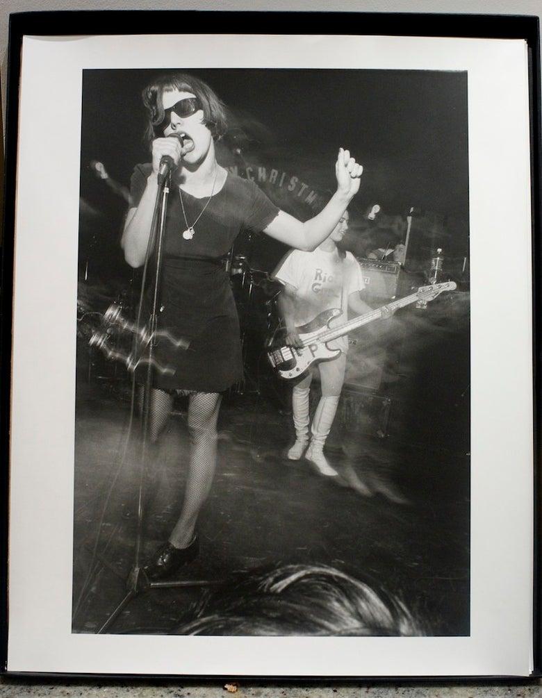 Image of Bikini Kill live in Washington DC, Rock For Choice, April 4th 1992.