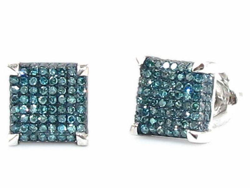 14kt White Gold Blue Diamond Earrings DZ Designs NYC