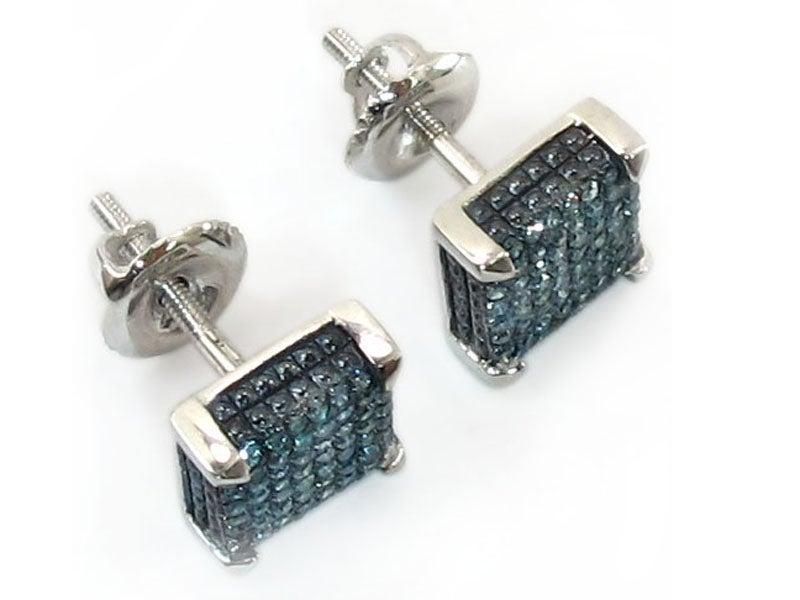 Image of 14kt White Gold Blue Diamond Earrings