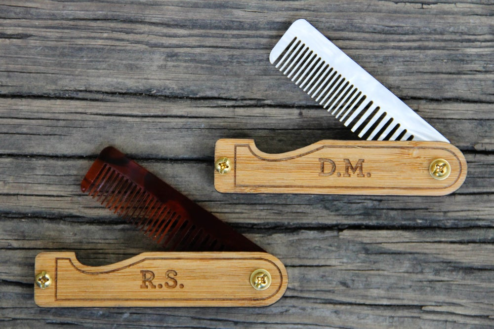 Image of Personalized Handmade Folding Wood Mustache Comb - Bamboo and Tortoise Shell
