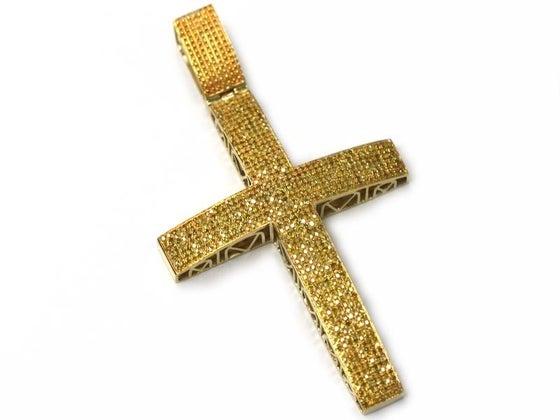 Image of 10kt Canary Yellow Diamond Cross