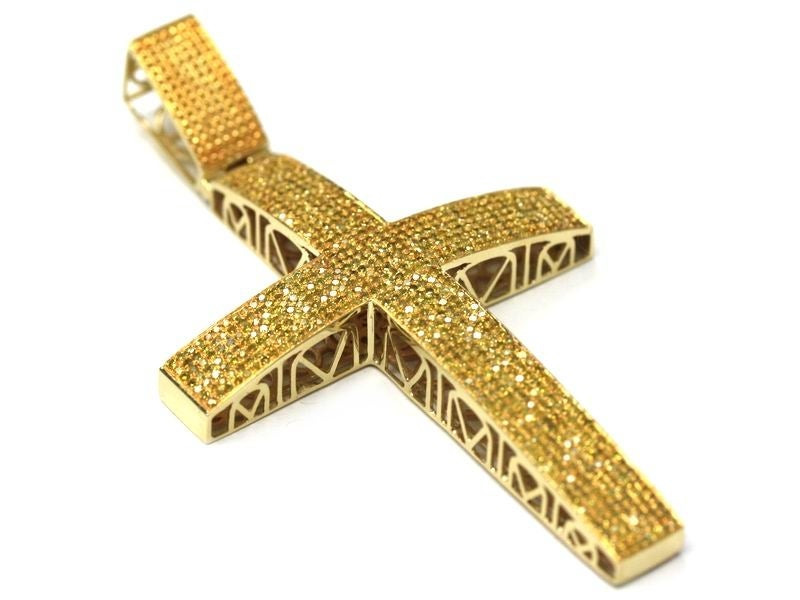 Image of 10kt Canary Yellow Diamond Cross