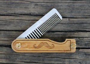 Image of Personalized Handmade Folding Wood Mustache Comb - Bamboo and Marble Acrylic