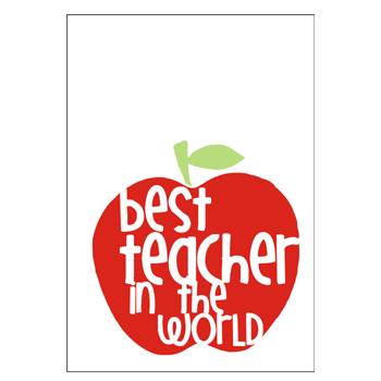 Image of 'best teacher in the world' tea towel