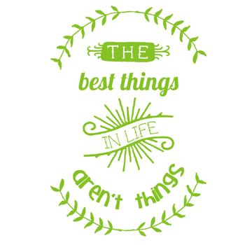 Image of 'the best things in life aren't things' tea towel