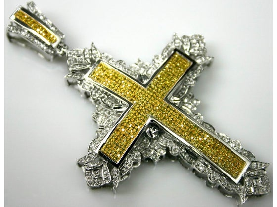 Image of 10KT WHITE OR YELLOW GOLD CANARY DIAMOND CROSS 3 INCHES LONG