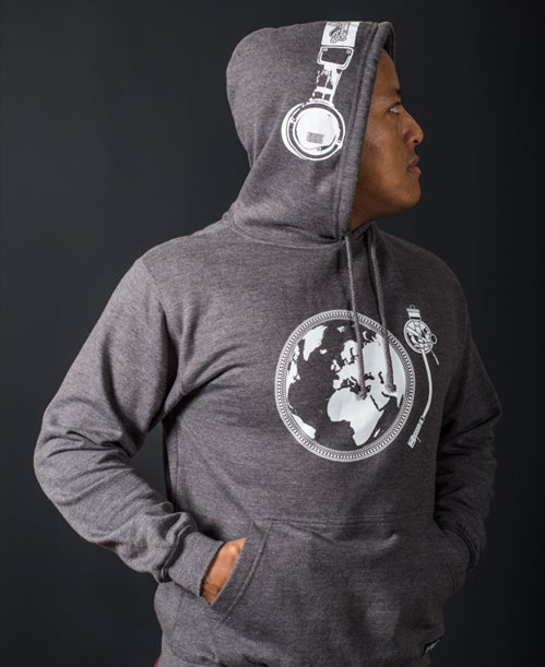 Image of TURNTABLIST ON TOUR <br>Headphone Hoodie (GREY) <br><i> by DJ Angelo</i>