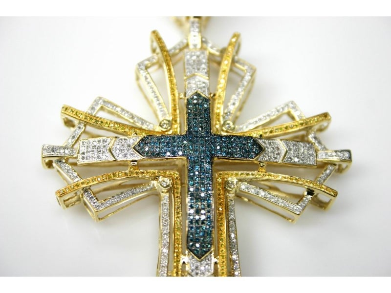 Image of 10KT MENS WHITE OR YELLOW SOLID GOLD MULTI-COLOR DIAMOND CROSS PENDANT