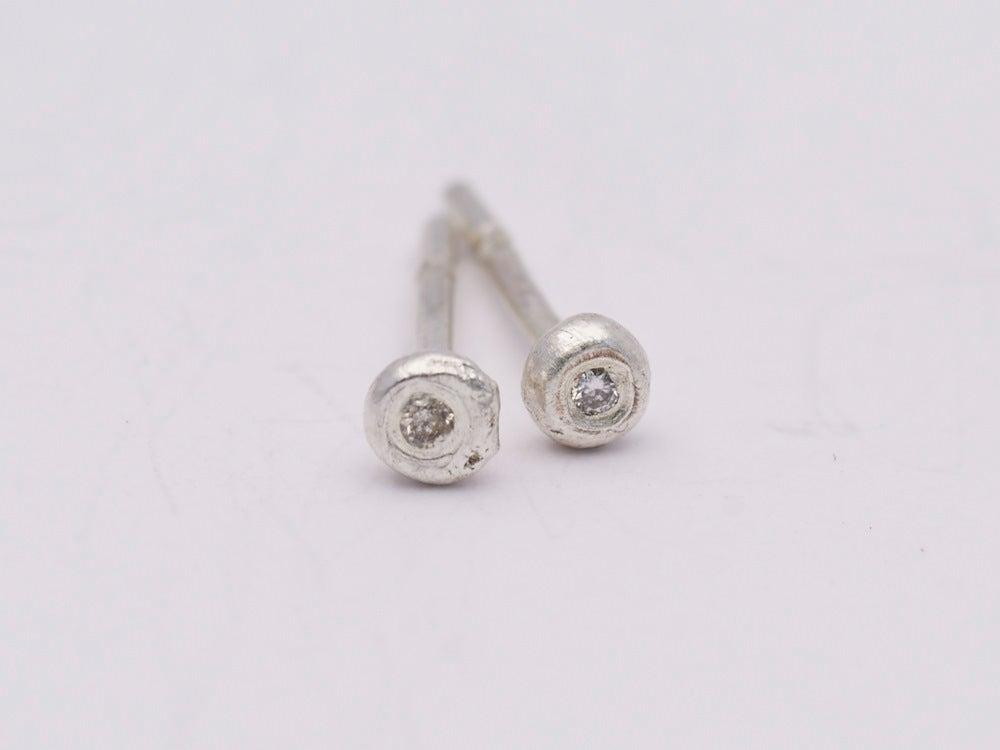 Image of Super Tiny Silver Diamond Set Studs