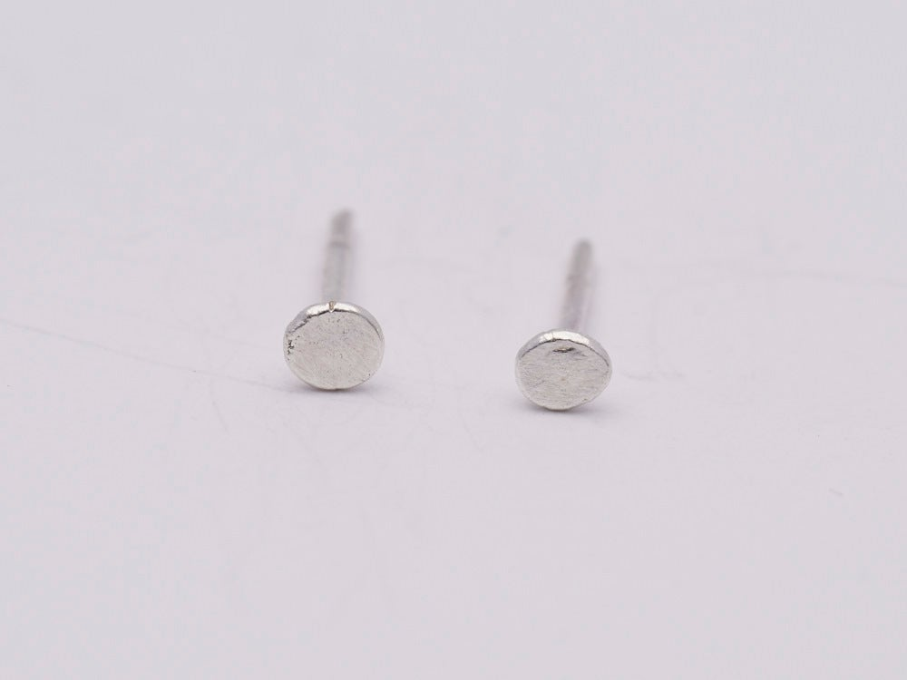 Image of Tiny Hammered Flat Studs - Sterling silver