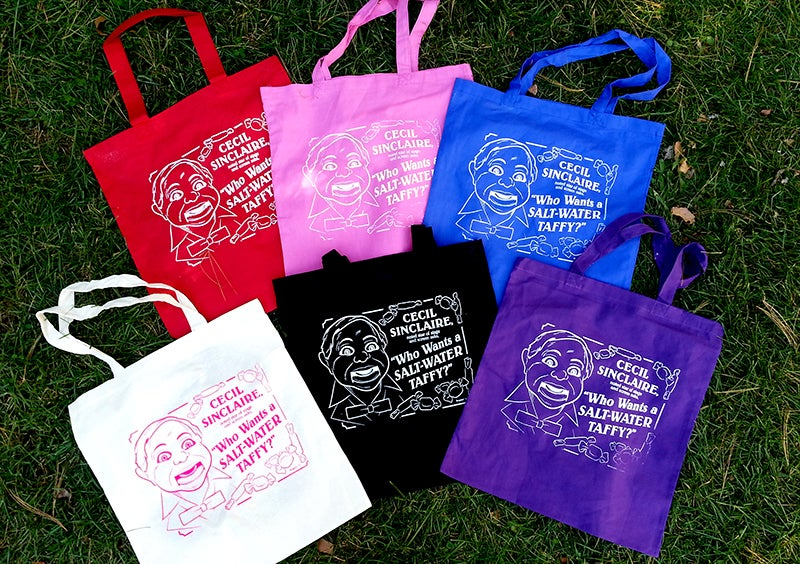 """Image of Cecil Sinclaire """"Who Wants A Saltwater Taffy?"""" Canvas Tote Bags!"""
