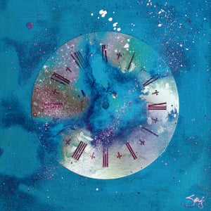 Image of Space Clock (Blue) – Museum Quality Canvas Reproduction