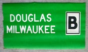 Image of 1950s Chicago Elevated 6000 Series Car Destination Sign DOUGLAS, MILWAUKEE: 22x11.5 inches