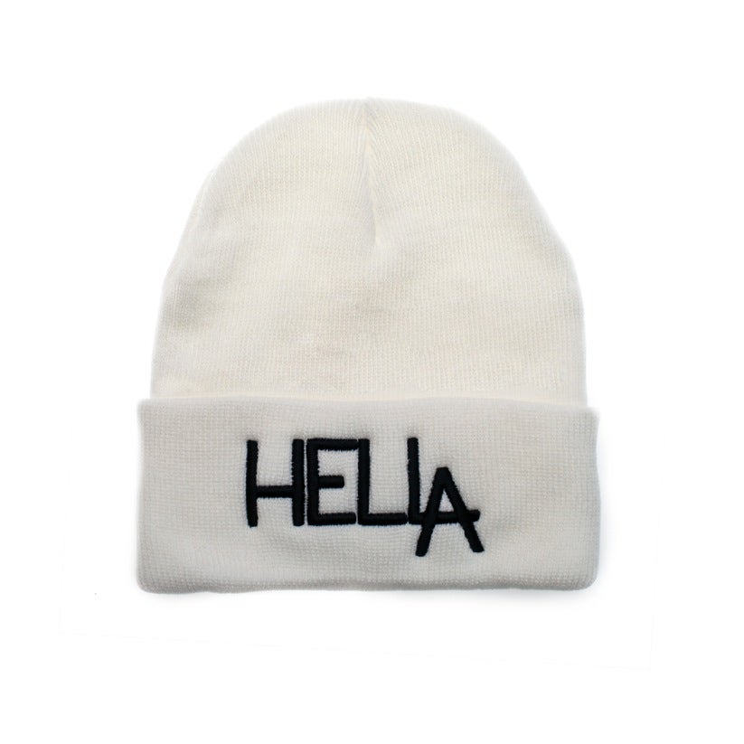 Image of White HelLA Beanie with Black Embroidery