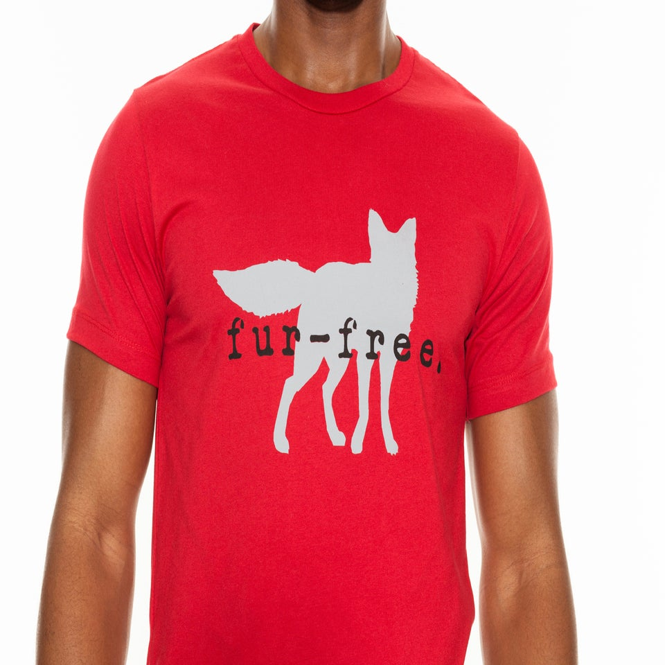 Image of guy's red fur-free tee