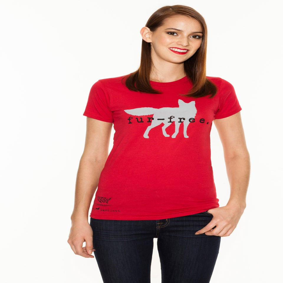 Image of girl's red fur-free tee