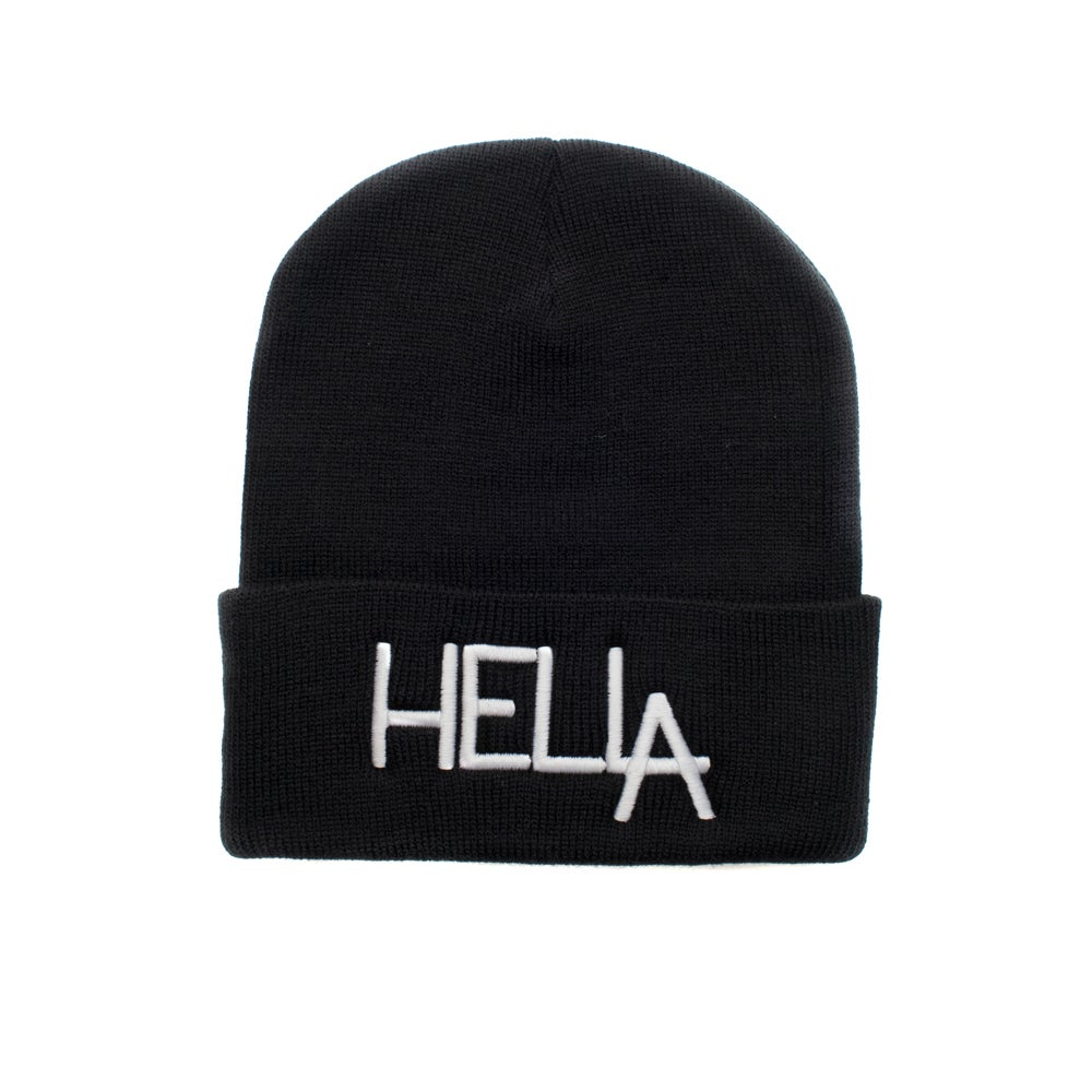 Image of Black HelLA Beanie with White Embroidery