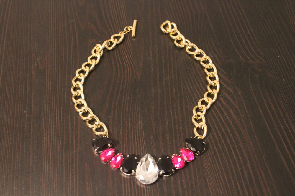 Image of Gold Chain with Silver, Pink and Black Gem Drops