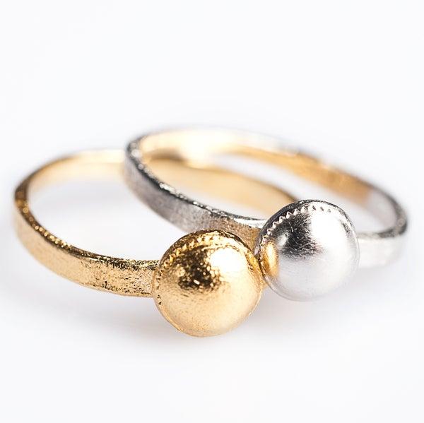 Image of Ringen zilver en zilver geel verguld, trouwringen op maat, goud en zilver