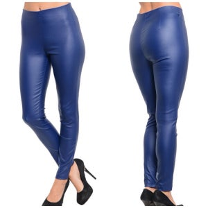 Image of High waist leather look leggings