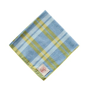 Image of Blue Yellow Plaid Chambray Pocket Square