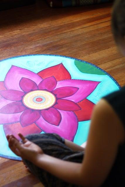"Image of ""New beginnings""- Pink Lotus Meditation Mat"