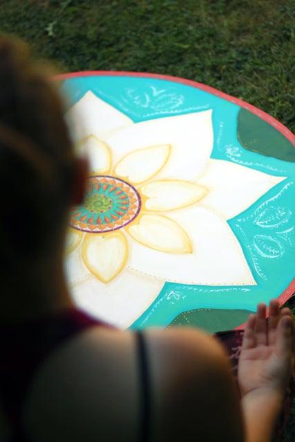 """Image of """"Spiritual awakening""""- White Lotus Meditation Mat"""