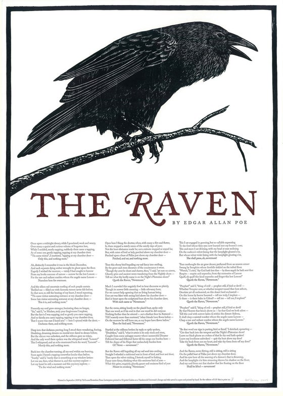 "Image of ""The Raven"" Woodcut Broadside"