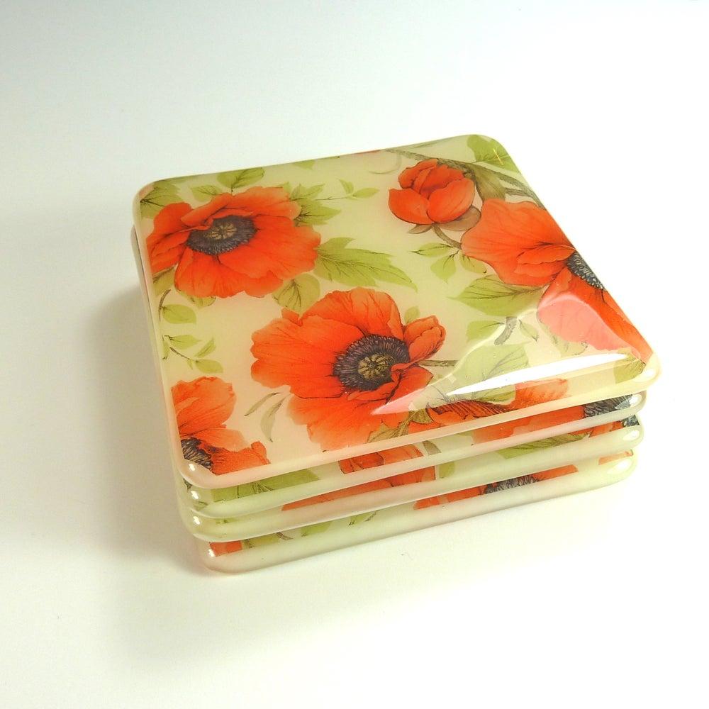 Image of Set of 4 Poppy Coasters