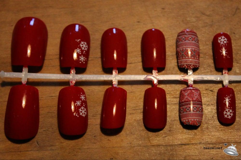 Image of Christmas Fairisle false nail set