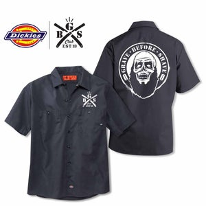 Image of G.B.S. Club GRAVE BEFORE SHAVE Zombie Dickies shirt