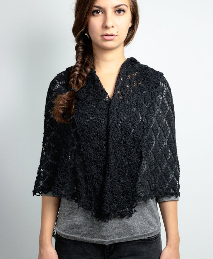 Image of Black Alpaca-Cashmere-Silk Scarf