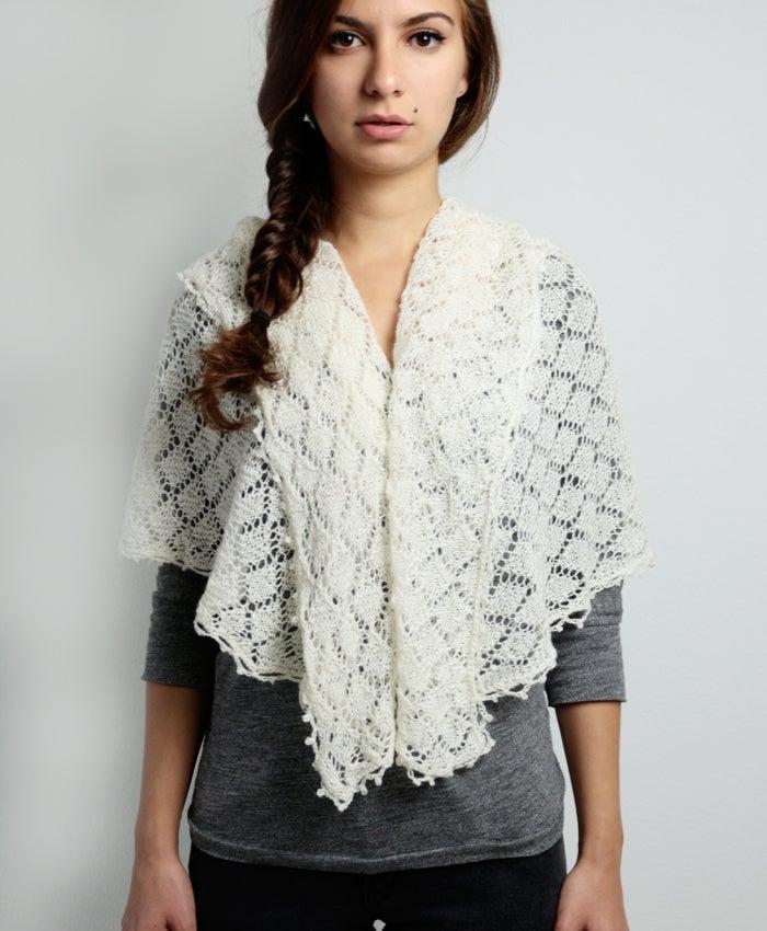 Image of White Alpaca-Cashmere-Silk Scarf