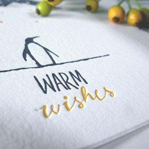 Image of Snowy Penguin - LETTERPRESS CARD