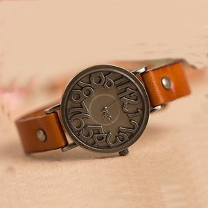 Image of Vintage Copper Solid Leather Wrist Watch / Women Watches (WAT0001-1)