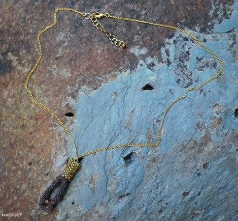 Image of Golden RoseGrey, handmade kumihimo pendant