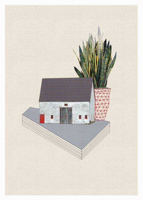"""Image of Original hand threaded artwork: """"Home and plant/Red door"""""""